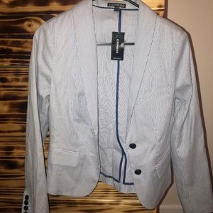 Express Blue and White Pinstriped Blazer NWT